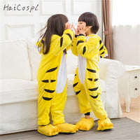 Kids Animal Cosplay Costume Yellow Tiger Pajamas Boys Girls Onesie Winter Warm Sleepwear Kigurumi Party Fancy Flannel - 1sies