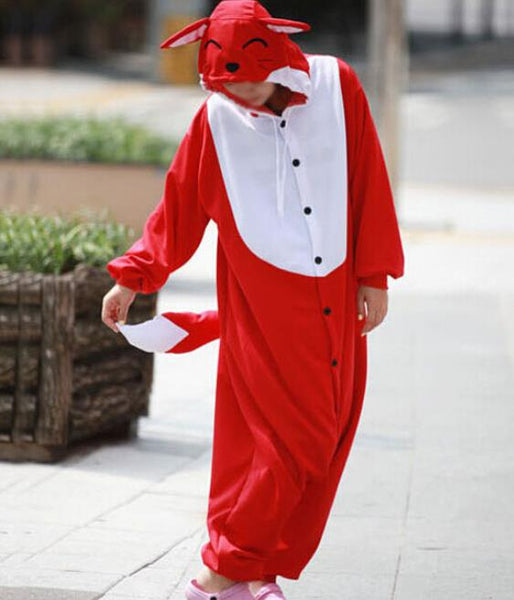 New Adult Animal red fox  Cosplay Pajamas Onesie Sleepwear Costume - 1sies