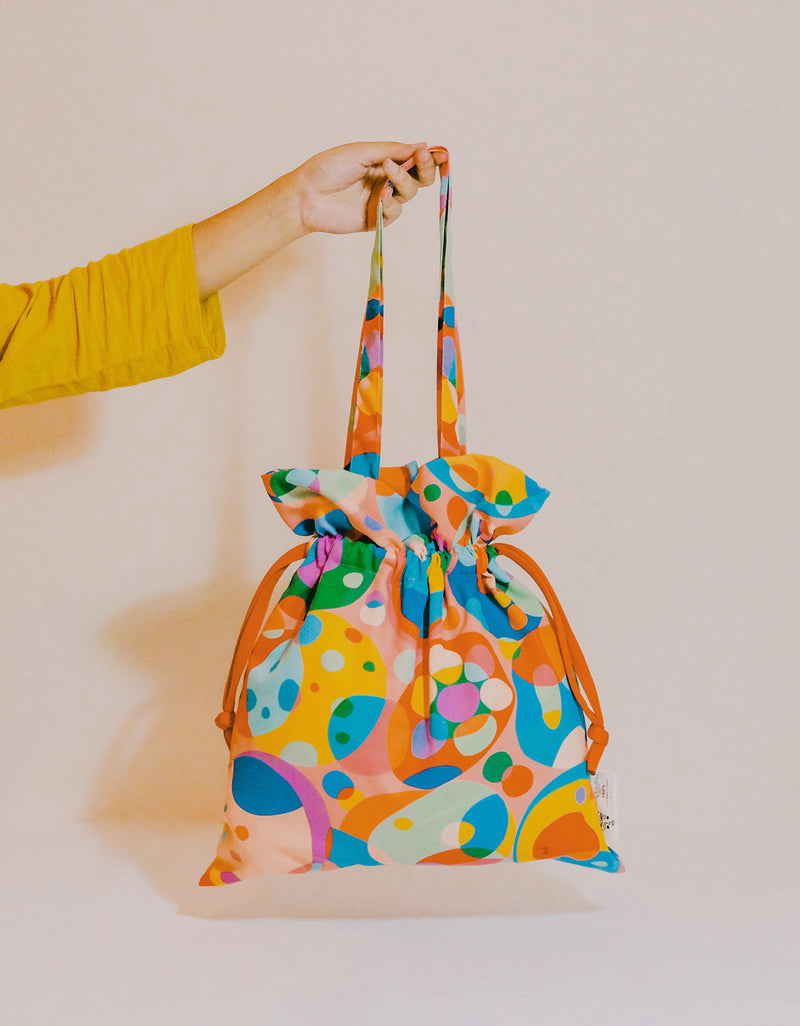 Drawstring Tote Bag - Circle Cells