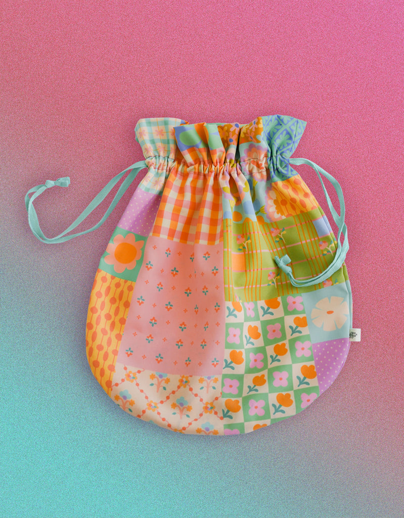 Flower Bricks - Jumbo Drawstring Pouch