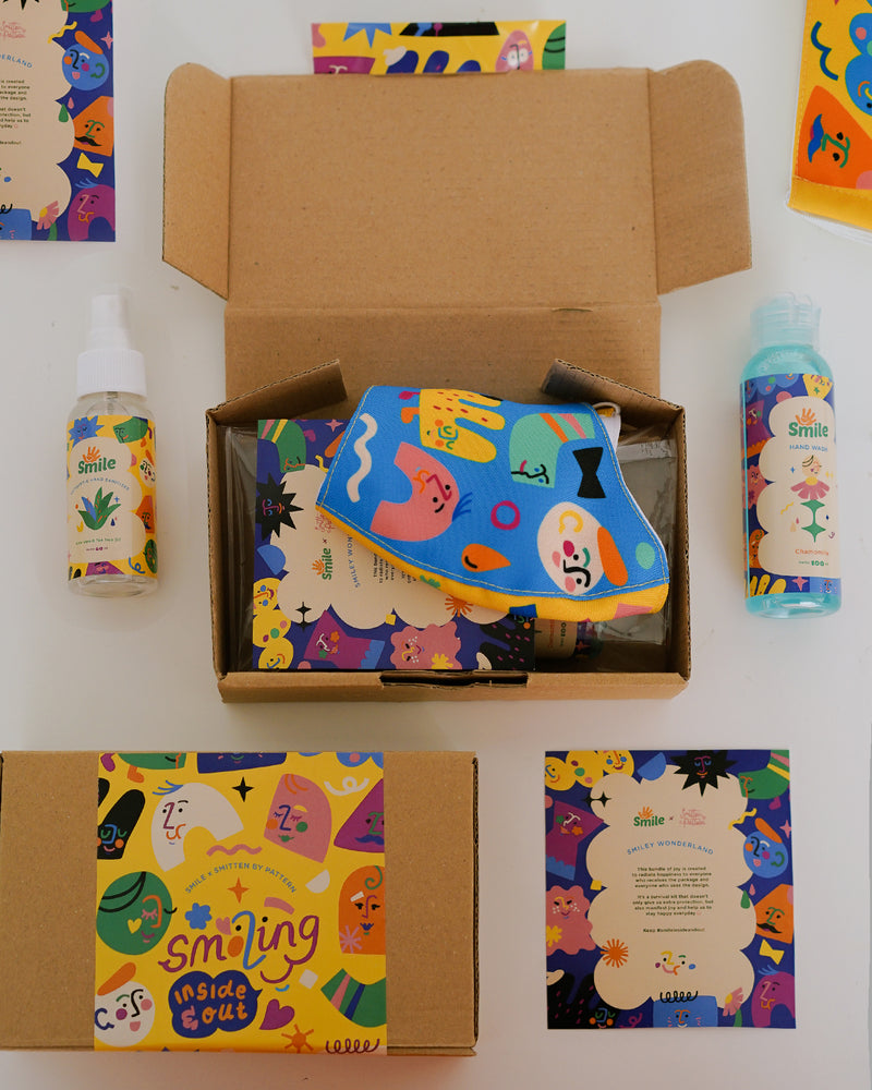 Smitten by Pattern X Smile - New Normal Kit (face mask, hand sanitizer, hand soap)