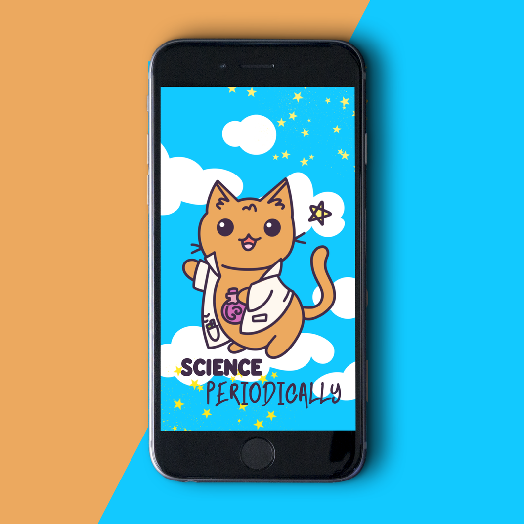 Cute Science Cat Phone Wallpaper