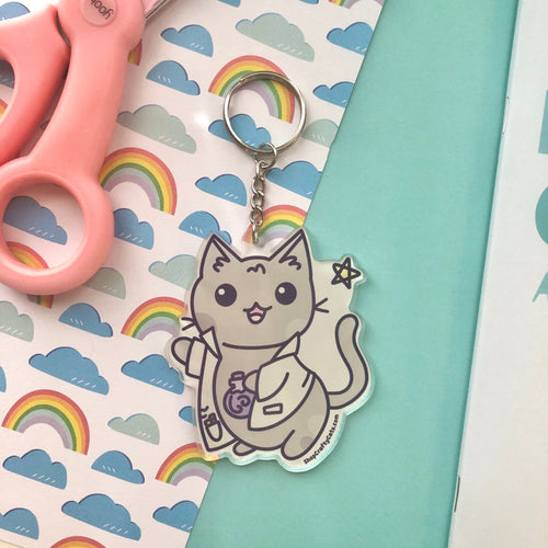 Cute Science Cat Key Chain