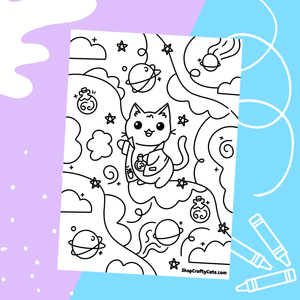 Cute Science Cat Coloring Sheet Printable