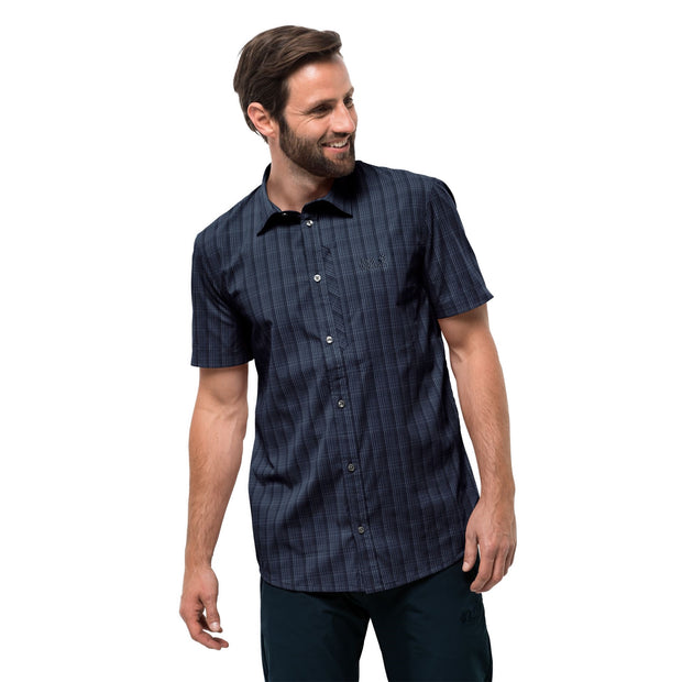 Jack Wolfskin Men's Rays Stretch Vent Shirt Night Blue Checks