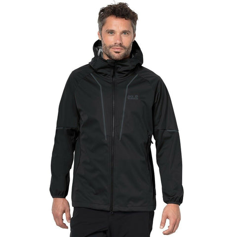 Jack Wolfskin Men's Green Valley Softshell Hooded Jacket - Black
