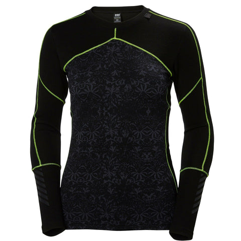 Helly Hansen Women's Lifa Merino L/S Crew Neck Top - Black/Fro