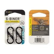 Nite Ize S-Biner Stainless Steel Double-Gated Carabiner #1 Black 2-Pack