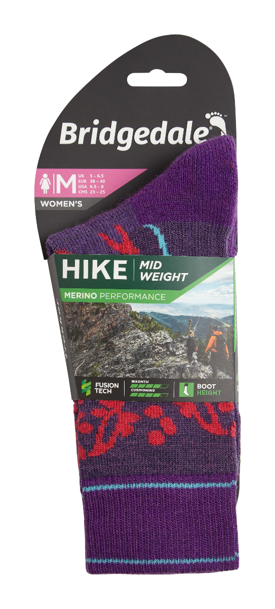 Bridgedale Women's Hike Midweight Endurance Boot Merino Performance Socks
