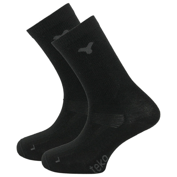 Teko Merino Wool Crew Liner Socks (Pack of 2) - Black