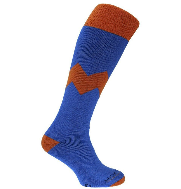 Horizon Men's Alpine Merino Ski Socks - Zig Zag Blue/Orange