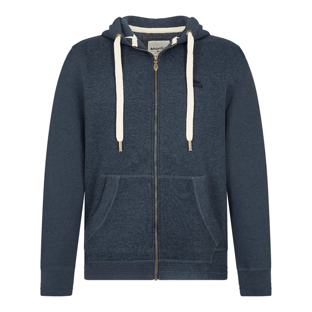 Weird Fish Men's Bruno Branded Full Zip Hoody - Navy Marl