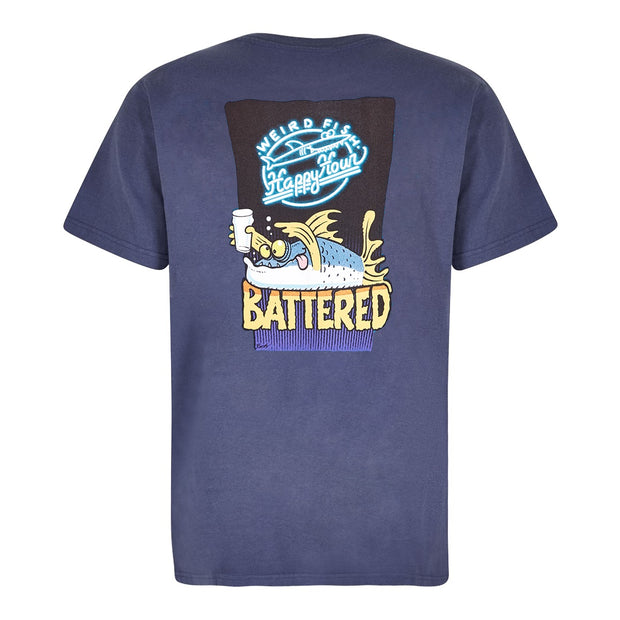 Weird Fish Men's Battered Artist T-Shirt - Blue Indigo