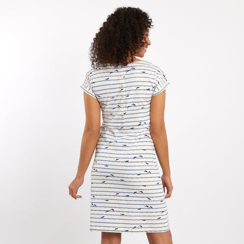 Weird Fish Women's Tallahassee Patterned Jersey Dress - Light Cream