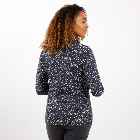 Weird Fish Women's Ginny Printed Slub Jersey Shirt - Dark Navy