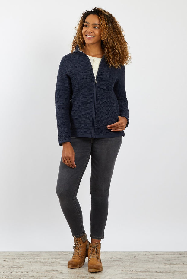 Weird Fish Women's Sontee Full Zip Eco Macaroni Top - Navy
