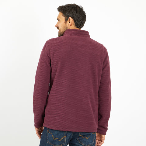 Weird Fish Men's Silvermine 1/4 Zip Hexagon Fleece - Plum
