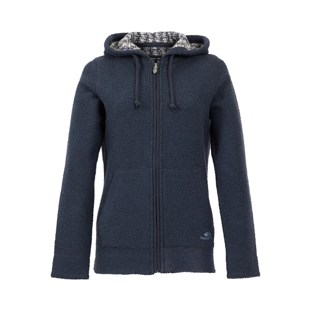 Weird Fish Women's Weylin Full Zip Eco Macaroni Hoodie - Navy