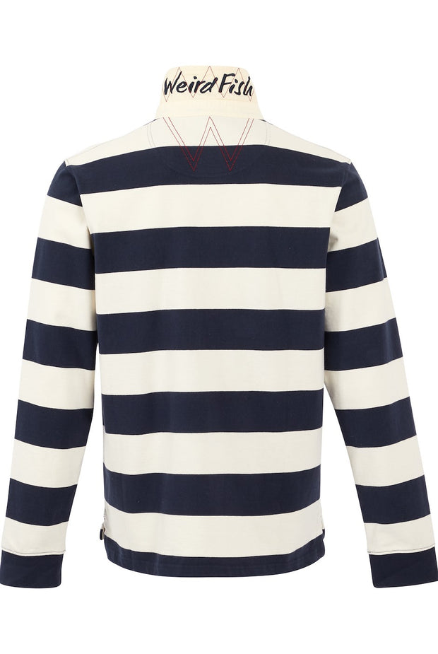 Weird Fish Men's Leigh Organic Cotton Striped Rugby Shirt - Navy