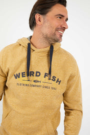 Weird Fish Men's Olten Branded Snow Marl Hoodie - Mustard
