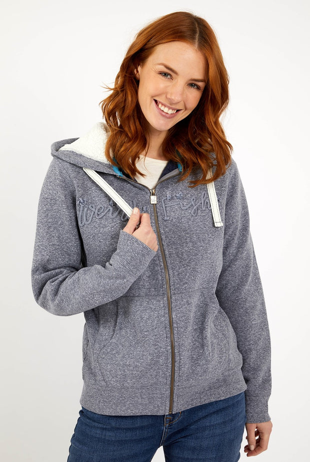 Weird Fish Women's Tani Branded Snow Marl Full Zip Hoodie - Navy