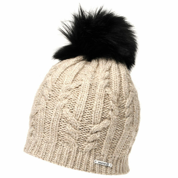 Salomon Ivy Beanie Pom Pom Hat - Natural