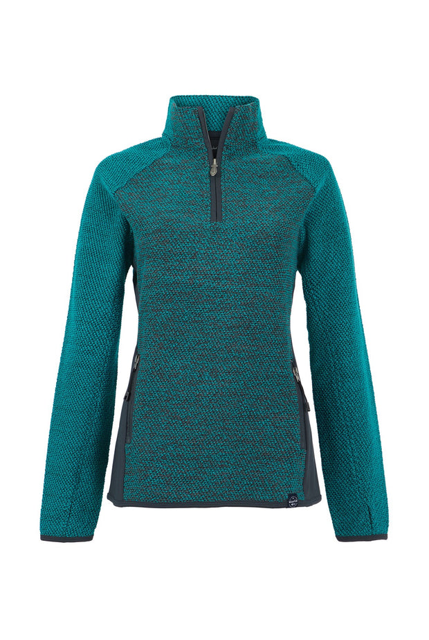 Weird Fish Women's Maple 1/4 Zip Active Macaroni - Light Teal