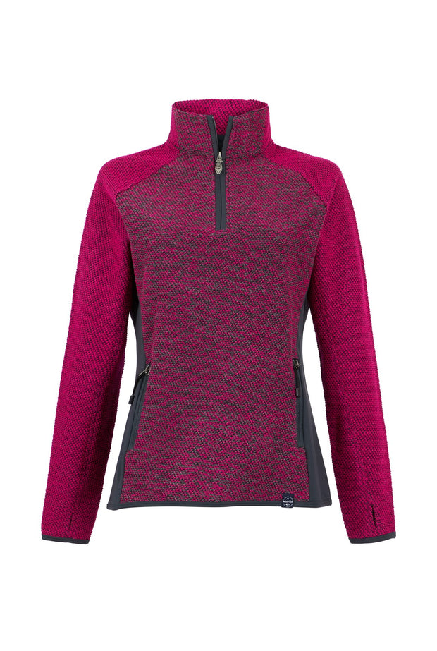 Weird Fish Women's Maple 1/4 Zip Active Macaroni - Dark Pink