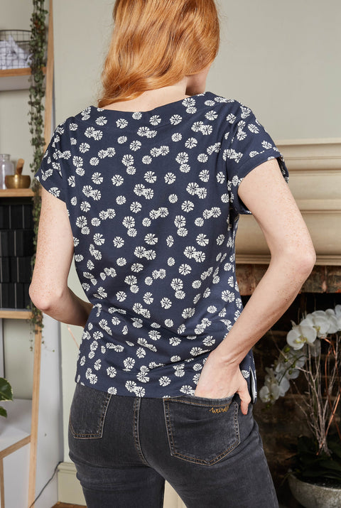 Weird Fish Women's Paw Paw Organic Cotton Printed Jersey Tee - Navy