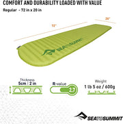 Sea To Summit Comfort Light Self Inflating Mat - Regular Green