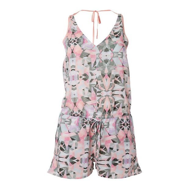 O'Neill Women's Beach Print Playsuit - White AOP with Green