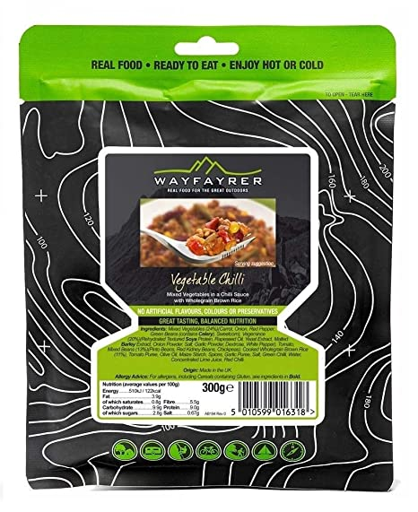 Wayfayrer Boil in the Bag Camp Food - Vegetable Chilli (6 Packs)