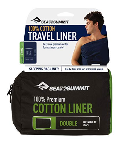 Sea To Summit Premium Cotton Sleeping Bag Liner With Pillow Insert - Traveller Seafoam