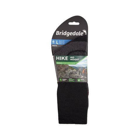 Bridgedale Men's Midweight Merino Performance Boot Sock (Trekker) - Black