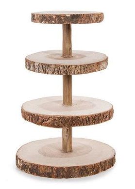 4-Tier Rustic Wood Slice Cupcake Stand