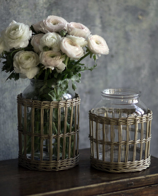 Glass and Wicker Vase (Set of 2)