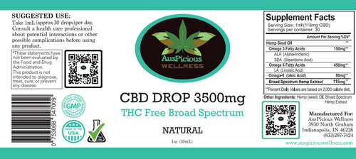 3500mg THC Free  CBD OIL 1-OZ BOTTLE  For Retail Customers