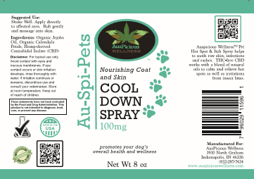 Auspicious Wellness Au-Spi_Pets CBD 100mg  Cool Down Spray (For Dogs Only)