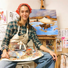 liv painting in her abode studio