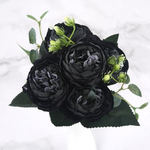 30cm Rose Pink Silk Peony Artificial Flowers Bouquet 5 Big Head and 4 Bud Cheap Fake Flowers for Home Wedding Decoration indoor|Artificial & Dried Flowers| Artificial & Dried Flowers Kahaul Official Store Black