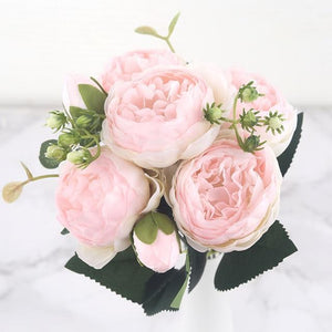 30cm Rose Pink Silk Peony Artificial Flowers Bouquet 5 Big Head and 4 Bud Cheap Fake Flowers for Home Wedding Decoration indoor|Artificial & Dried Flowers| Artificial & Dried Flowers Kahaul Official Store Pink Champagne