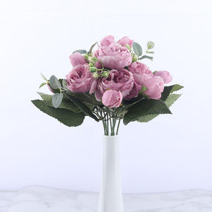 30cm Rose Pink Silk Peony Artificial Flowers Bouquet 5 Big Head and 4 Bud Cheap Fake Flowers for Home Wedding Decoration indoor|Artificial & Dried Flowers| Artificial & Dried Flowers Kahaul Official Store