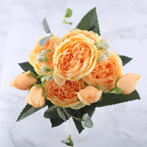 30cm Rose Pink Silk Peony Artificial Flowers Bouquet 5 Big Head and 4 Bud Cheap Fake Flowers for Home Wedding Decoration indoor|Artificial & Dried Flowers| Artificial & Dried Flowers Kahaul Official Store Yellow