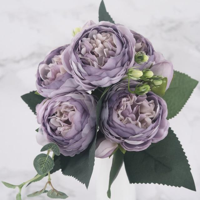 30cm Rose Pink Silk Peony Artificial Flowers Bouquet 5 Big Head and 4 Bud Cheap Fake Flowers for Home Wedding Decoration indoor|Artificial & Dried Flowers| Artificial & Dried Flowers Kahaul Official Store Light Purple