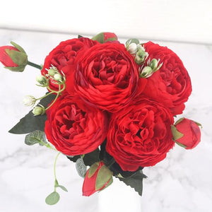 30cm Rose Pink Silk Peony Artificial Flowers Bouquet 5 Big Head and 4 Bud Cheap Fake Flowers for Home Wedding Decoration indoor|Artificial & Dried Flowers| Artificial & Dried Flowers Kahaul Official Store Big Red