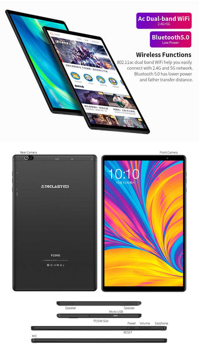 Teclast P10HD 10.1 inch 4G Tablet 8 Core CPU Android 9.0 3GB / 32GB BT 5.0 - Black