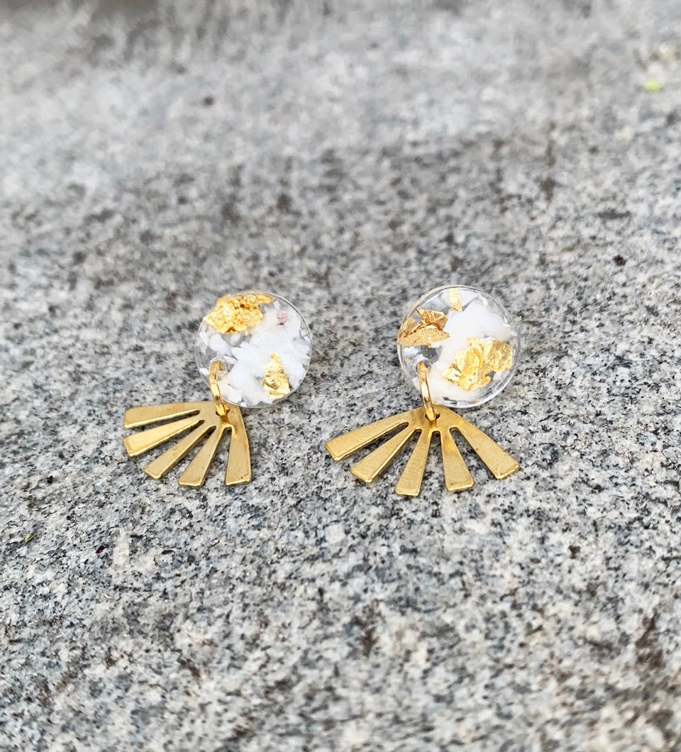 Marina Del Rey Earrings w/gold flake