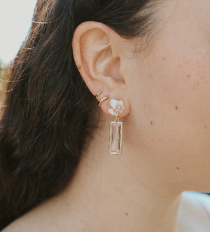Square Crystal Earrings - White Shells