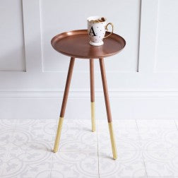 Round Table with Brass Legs Small Copper
