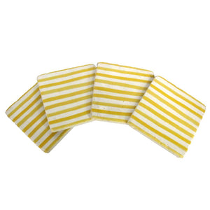 Yellow and white striped coasters